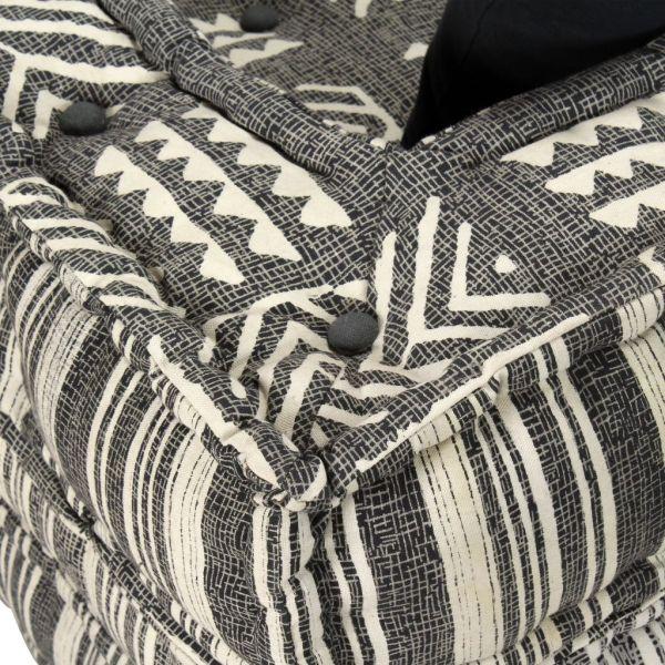 Canapea puf modulară cu 2 locuri, gri cu dungi, material textil