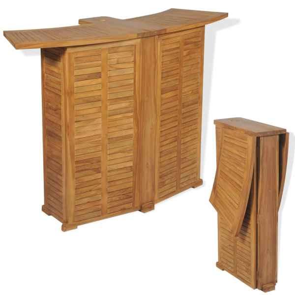 vidaXL Masă de bar pliabilă, 155 x 53 x 105 cm, lemn masiv de tec