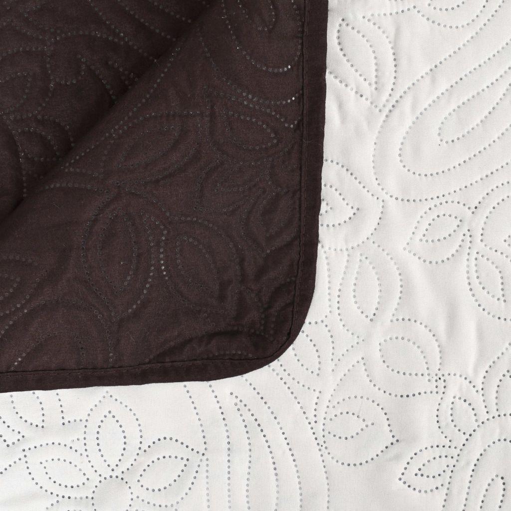 Cuvertură matlasată cu două fețe, 220×240 cm, crem și maro