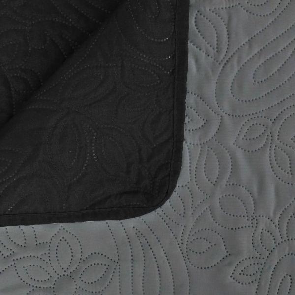 vidaXL Cuvertură matlasată cu două fețe, 170×210 cm, gri și negru