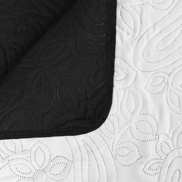 Cuvertură matlasată cu două fețe, 230×260 cm, negru și alb