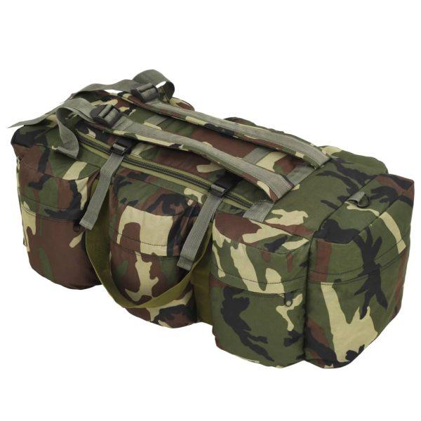 vidaXL Geantă 3-în-1 în stil army, 120 L, Camuflaj