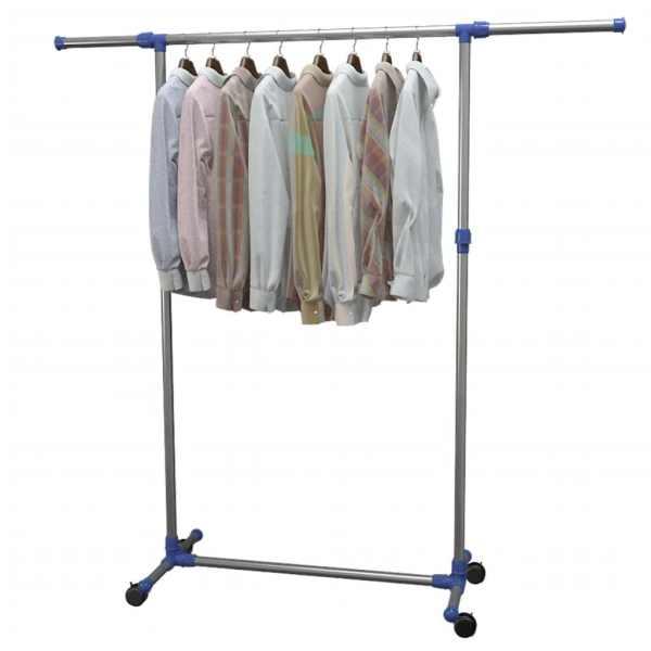 vidaXL Cuier haine reglabil, argintiu, 165x44x150 cm, oțel inoxidabil