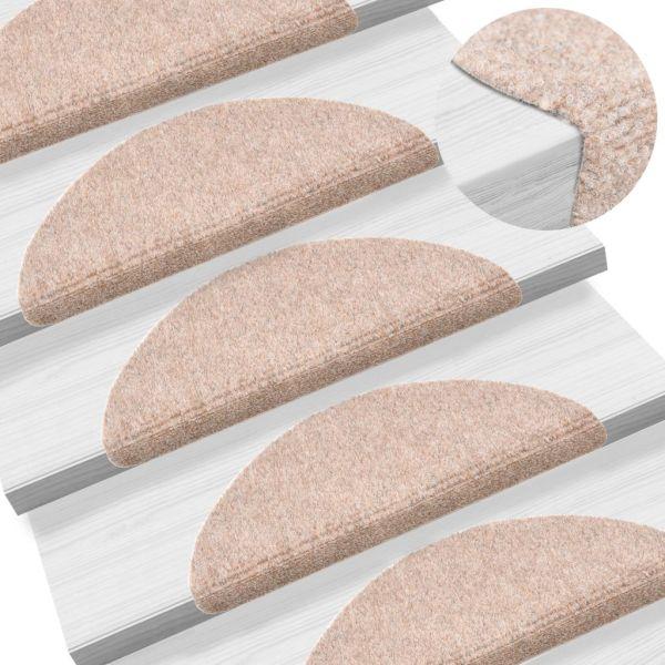 vidaXL Covorașe autocolante de scări, 15 buc, 54 x 16 x 4 cm, maro