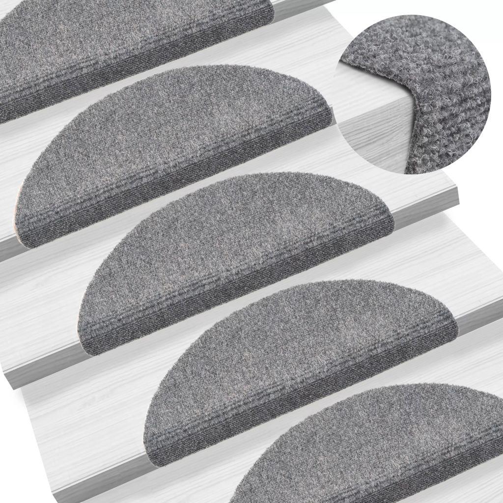 vidaXL Covorașe autocolante scări, 15 buc, 54 x 16 x 4 cm, gri deschis