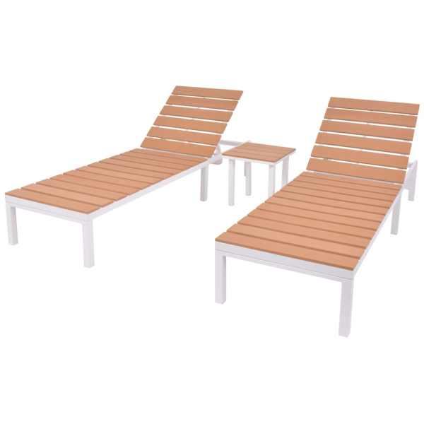 vidaXL Șezlonguri de plajă cu masă, 2 buc., alb & maro, aluminiu & WPC