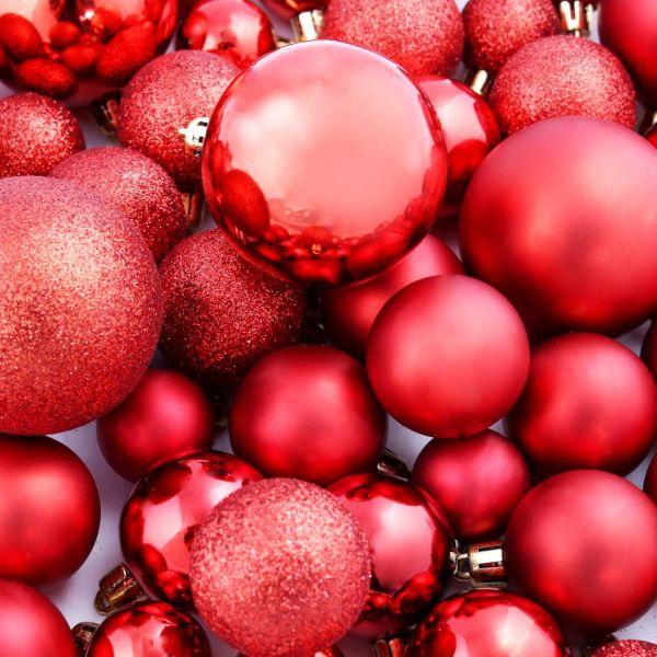 Set globuri de Crăciun 113 piese, 6 cm Roșu