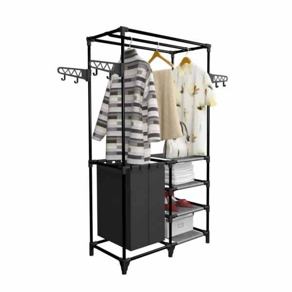 vidaXL Cuier haine, Oțel și textil nețesut, 87x44x158 cm Negru
