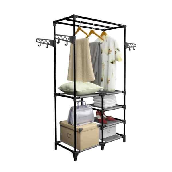 vidaXL Cuier haine, negru, 87 x 44 x 158 cm, oțel și material nețesut