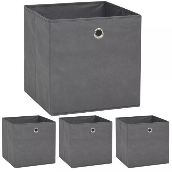 vidaXL Cutii de depozitare, 4 buc, material nețesut, 32x32x32 cm, Gri