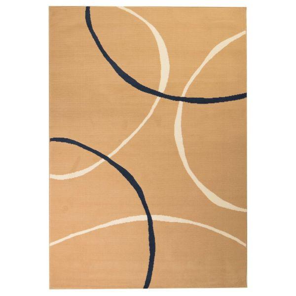 vidaXL Covor modern, design cercuri, 140 x 200 cm, maro