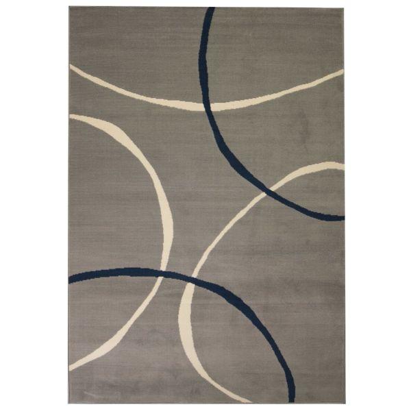 vidaXL Covor modern, design cercuri, 140 x 200 cm, gri