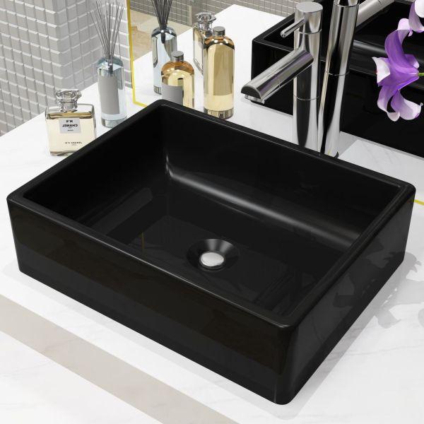 vidaXL Bazin chiuvetă ceramic, dreptunghiular, negru, 41 x 30 x 12 cm