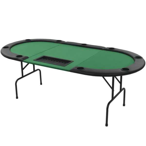 vidaXL Masă de poker pliabilă în 3, pentru 9 jucători, oval, Verde