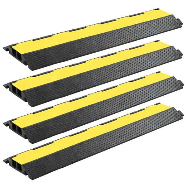 vidaXL Rampă de protecție cabluri, 4 buc., 2 canale, cauciuc 101,5 cm