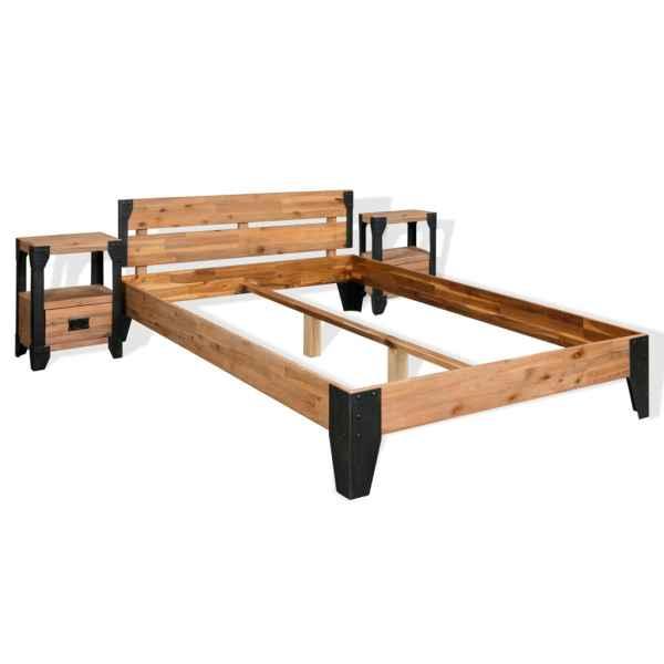 vidaXL Cadru pat cu 2 noptiere, Lemn masiv de salcâm, oțel 140×200 cm