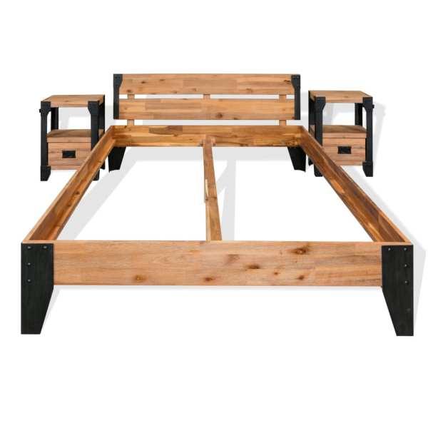 Cadru pat cu 2 noptiere, Lemn masiv de salcâm, oțel 140×200 cm