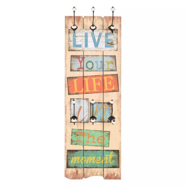 Cuier de perete cu 6 cârlige, 120 x 40 cm, LIVE LIFE