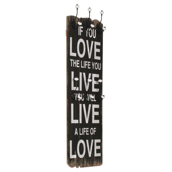 vidaXL Cuier de perete cu 6 cârlige, 120 x 40 cm, LOVE LIFE