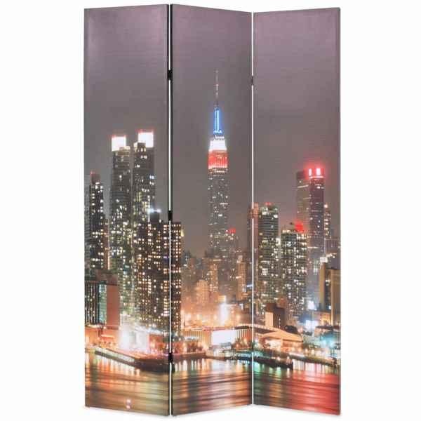 vidaXL Paravan cameră pliabil, 120×170 cm, New York pe timp de noapte