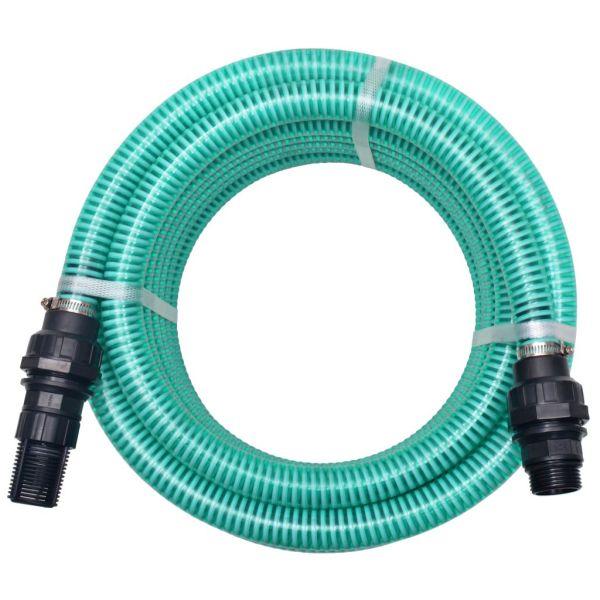 vidaXL Furtun de aspirare cu racorduri, verde, 22 mm, 7 m