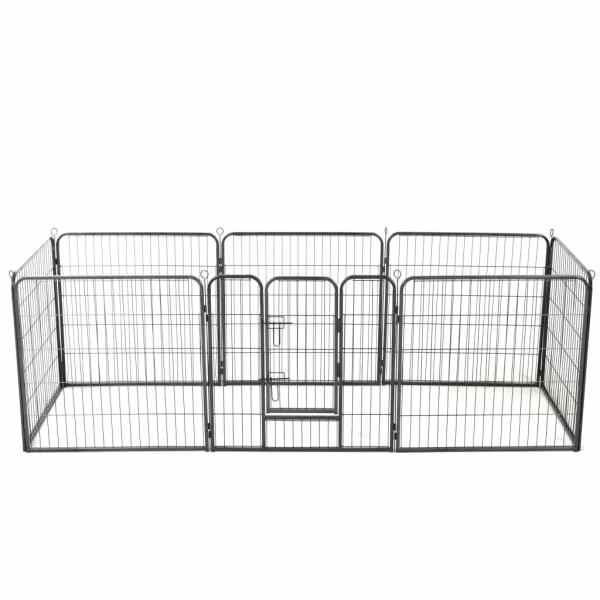 vidaXL Țarc pentru câini, 8 panouri, oțel, 80×80 cm, negru