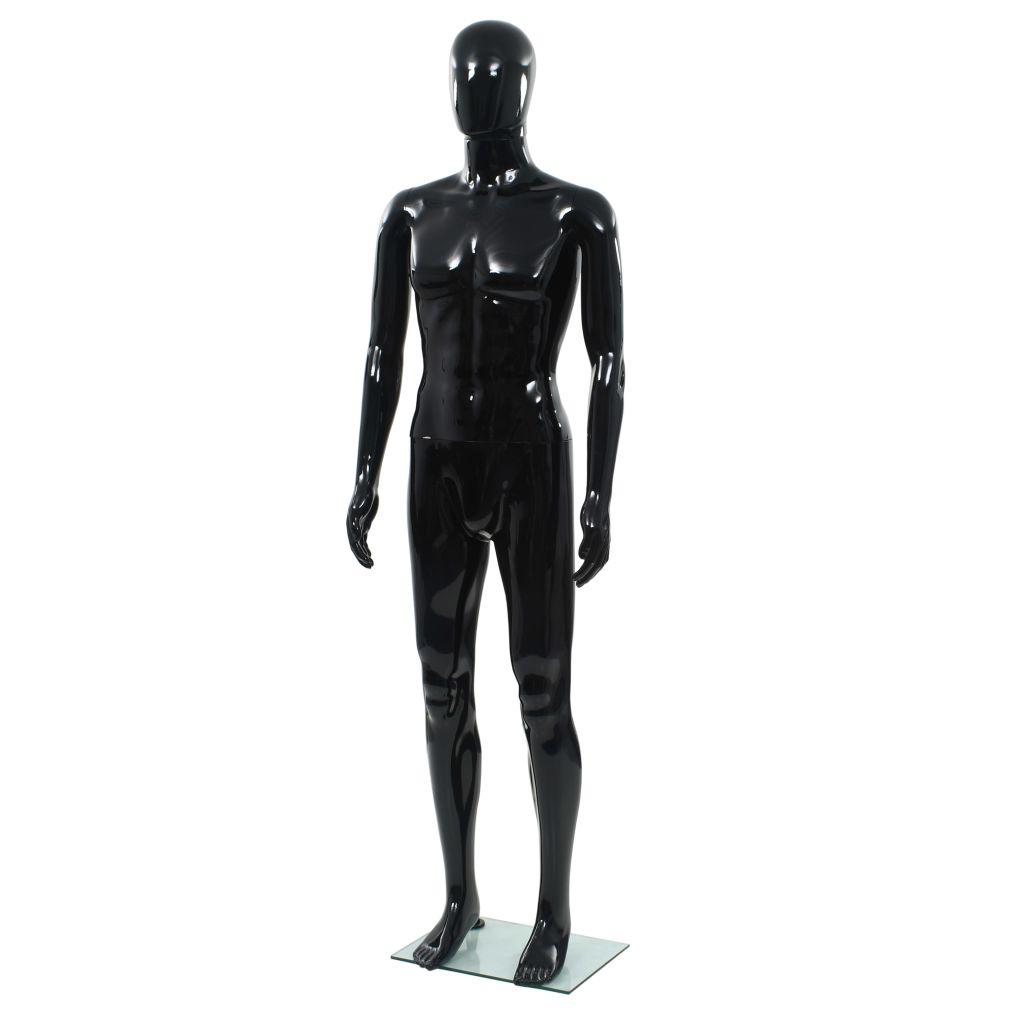 vidaXL Corp manechin masculin, suport din sticlă, Negru lucios 185 cm