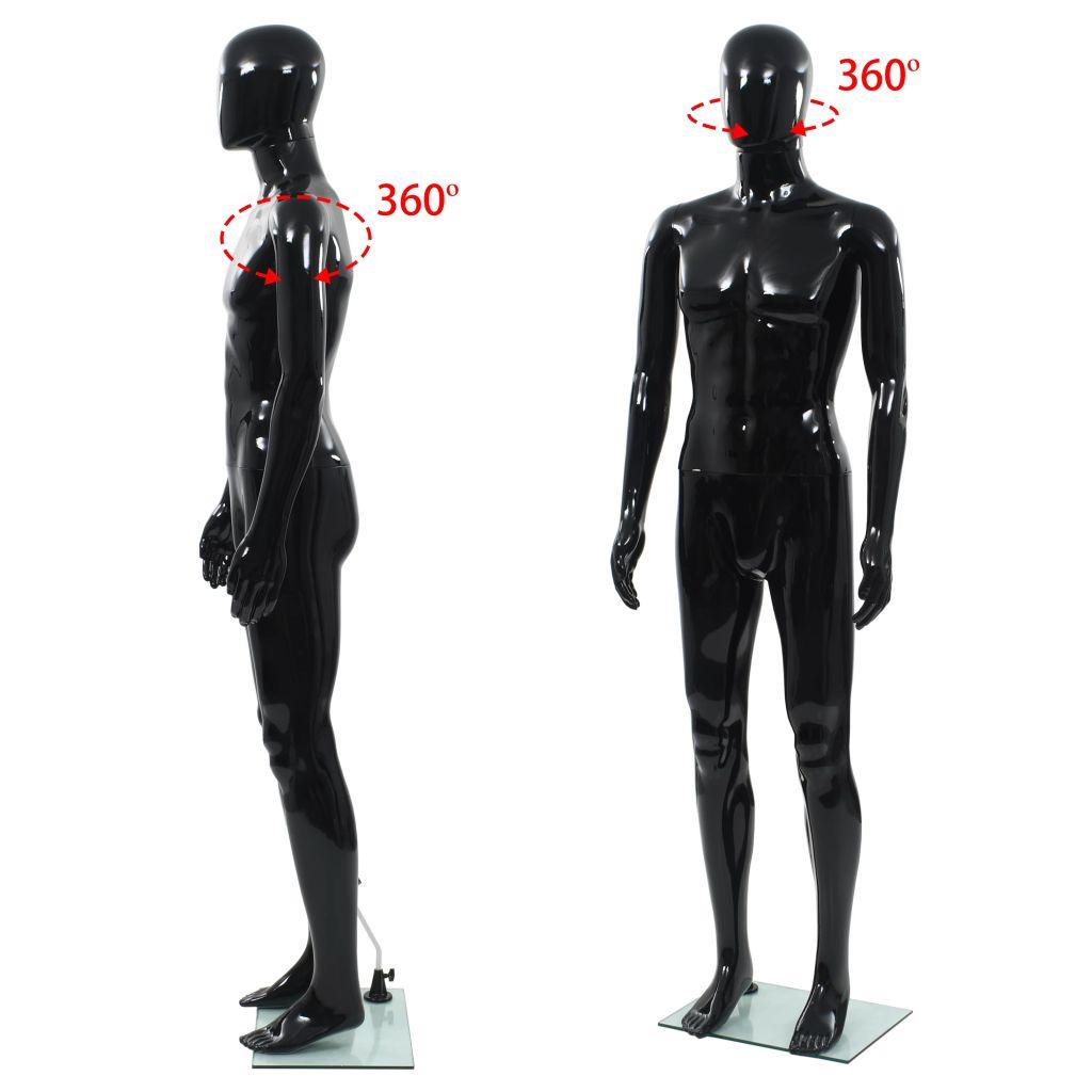 Corp manechin masculin, suport din sticlă, Negru lucios 185 cm