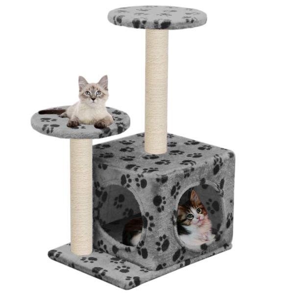 vidaXL Ansamblu pisici turnuri de sisal gri 60 cm imprimeu cu lăbuțe