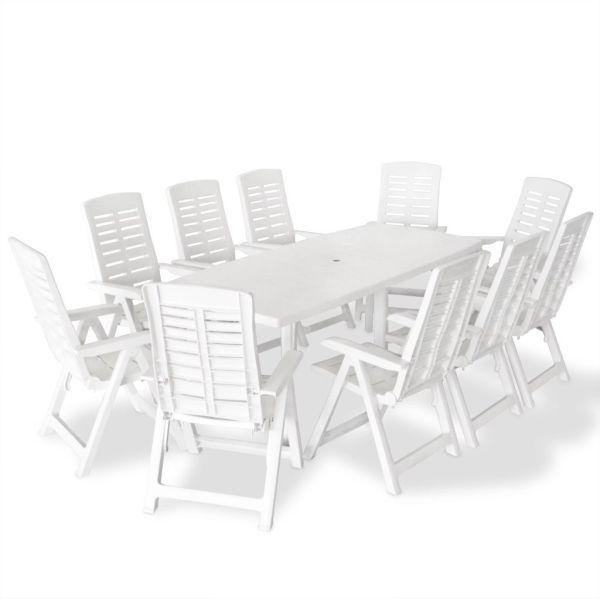 vidaXL Set mobilier de exterior, 11 piese, alb, plastic