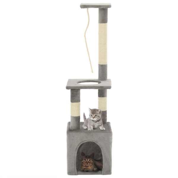 vidaXL Ansamblu pentru pisici cu stâlpi din funie de sisal, 109 cm gri