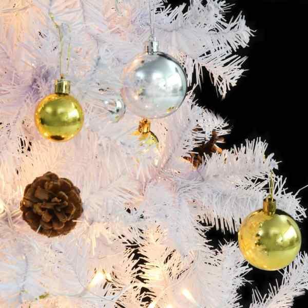 Pom de Crăciun artificial decorat cu globuri și LED 210cm alb