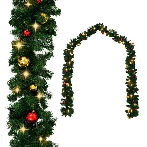 Ghirlandă de Crăciun decorată cu globuri și becuri LED, 10 m