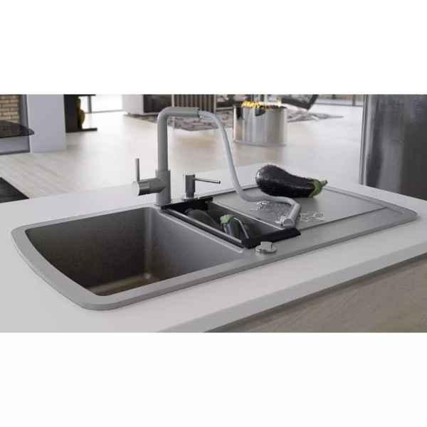 vidaXL Chiuvetă de bucătărie din granit cu două cuve, gri