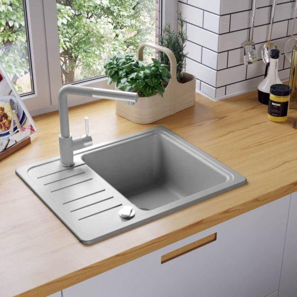 vidaXL Chiuvetă de bucătărie din granit cu o cuvă, gri