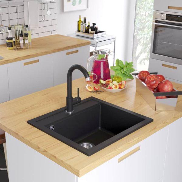vidaXL Chiuvetă de bucătărie din granit cu o cuvă, negru