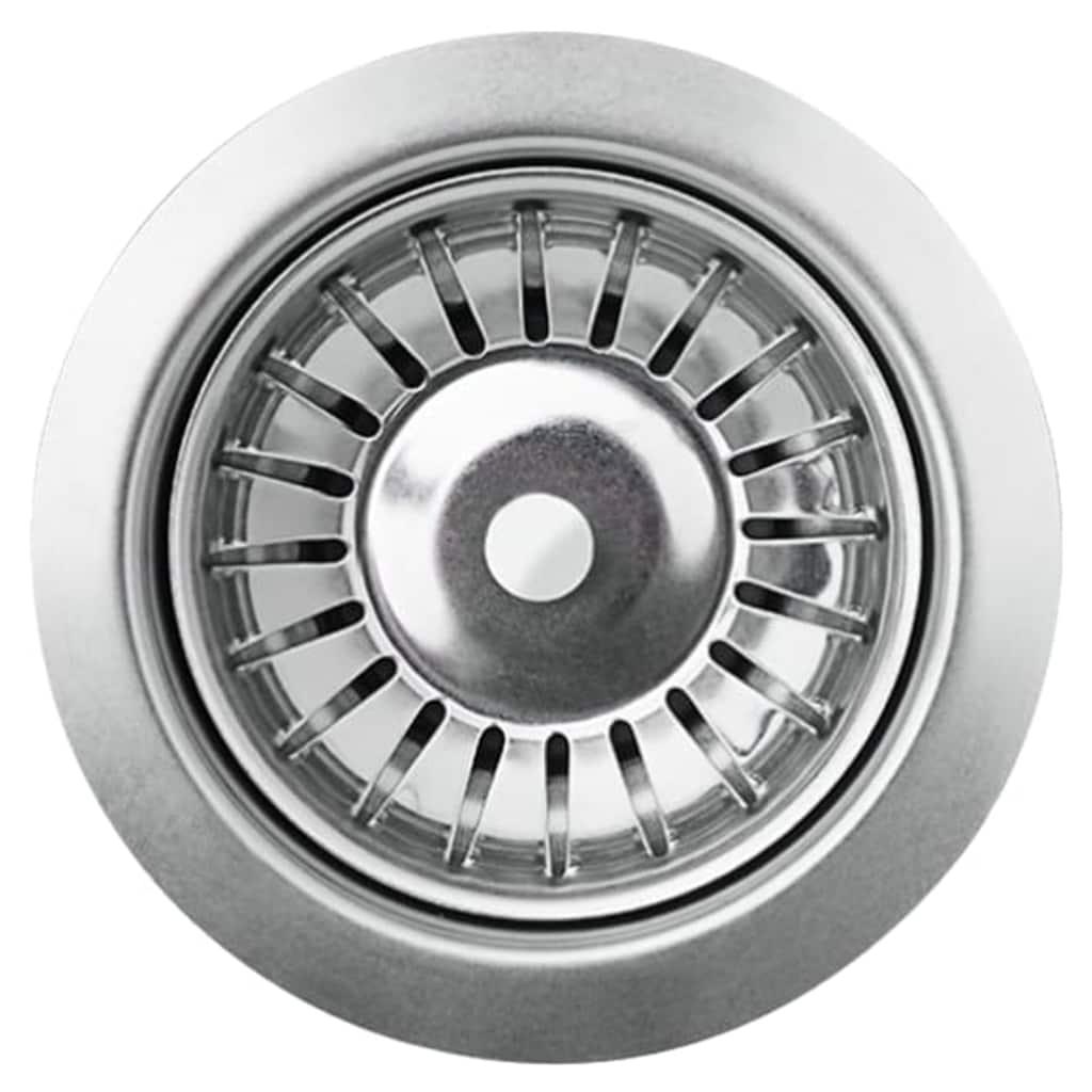 vidaXL Chiuvetă de bucătărie din granit cu o cuvă, gri, rotund