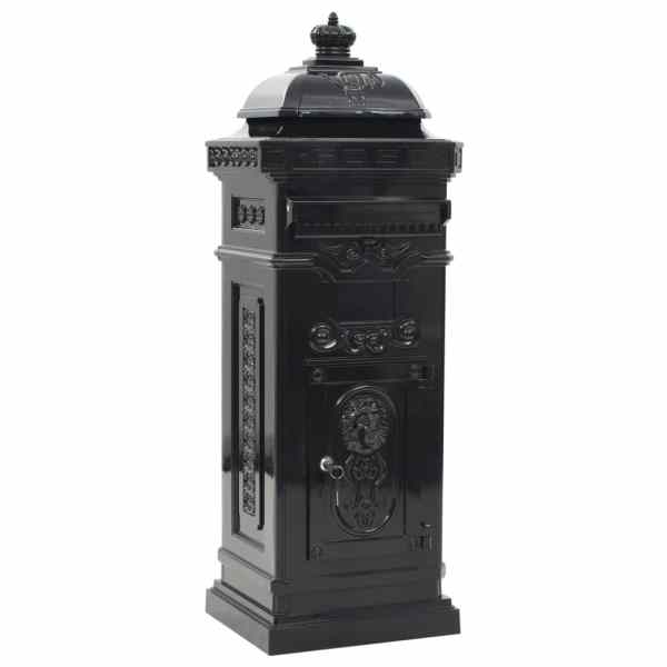 Cutie poștală stâlp, aluminiu, stil vintage, inoxidabil, negru