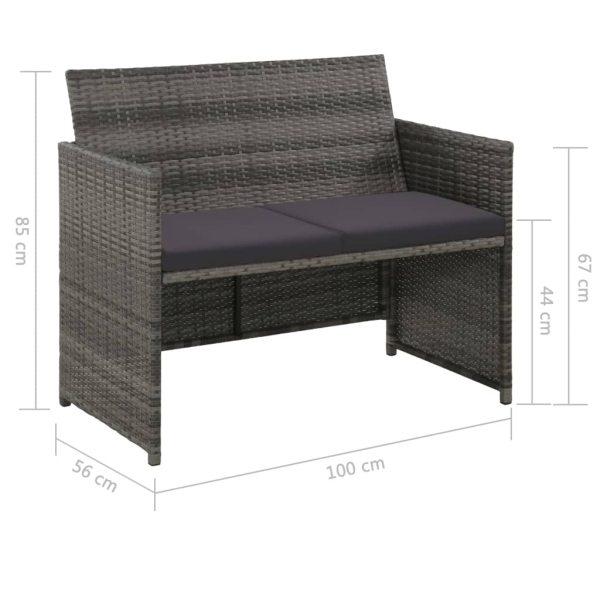 Canapea de grădină cu 2 locuri, cu perne, gri, poliratan