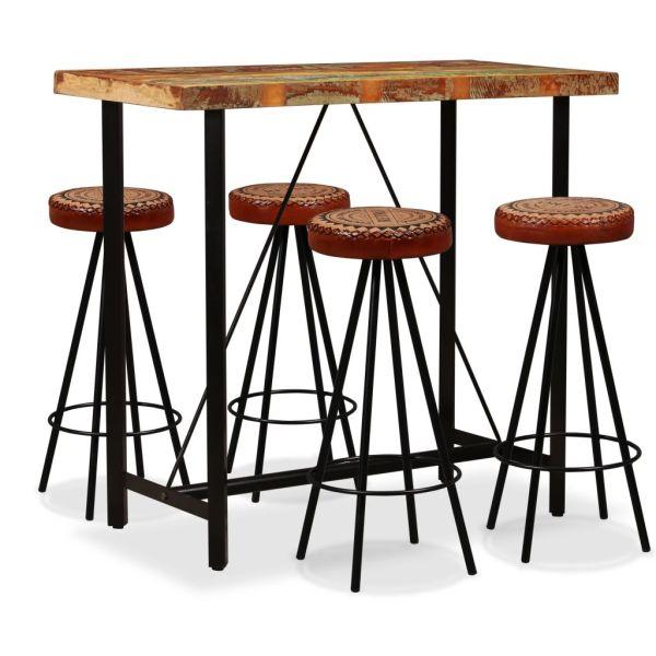 vidaXL Set de bar 5 piese lemn masiv reciclat piele naturală și pânză