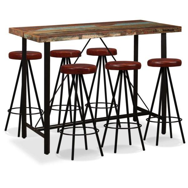 vidaXL 7 piese Set de bar, lemn masiv reciclat și piele naturală