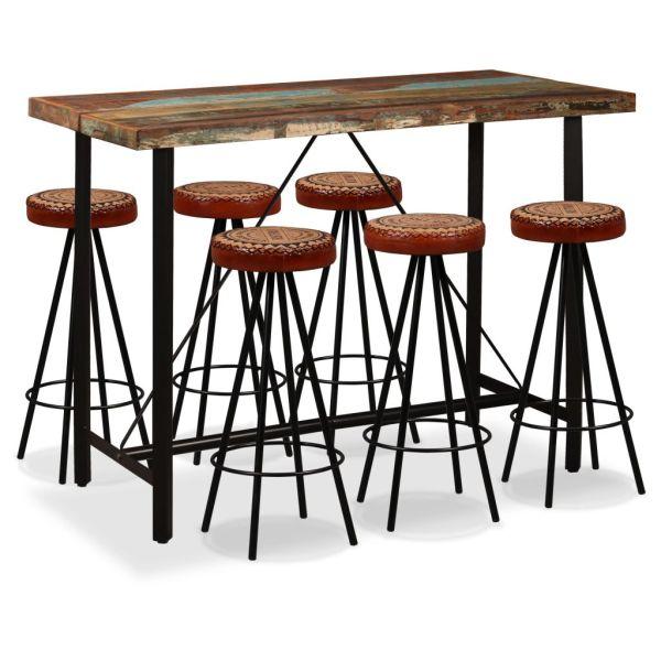 vidaXL Set bar, 7 piese, lemn masiv reciclat, piele naturală și pânză