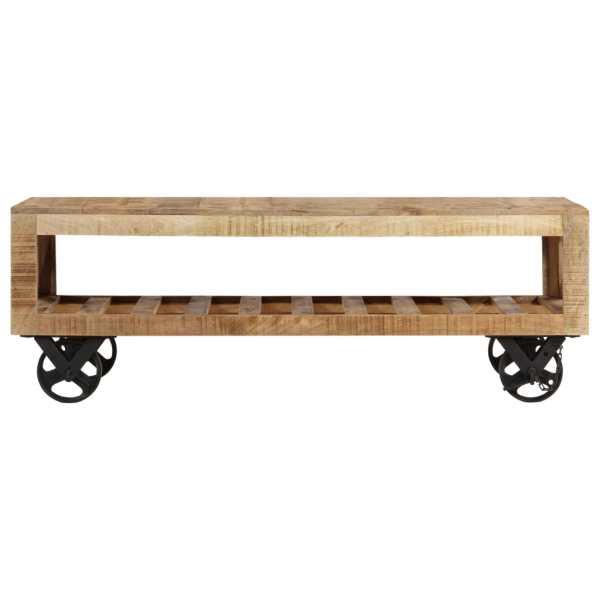Masă de cafea cu roți, lemn masiv de mango, 110 x 50 x 37 cm