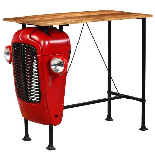 vidaXL Masă bar, stil tractor, lemn masiv mango, roșu, 60x120x107 cm