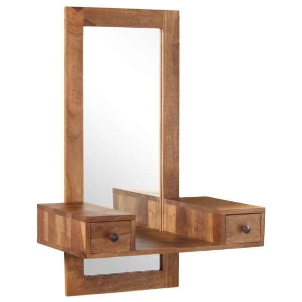 vidaXL Oglindă cosmetică cu 2 sertare, lemn masiv de sheesham