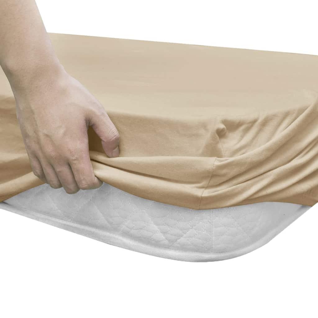 vidaXL Husă de pat cu apă 2 buc., 180 x 200 cm, bumbac jerseu, bej