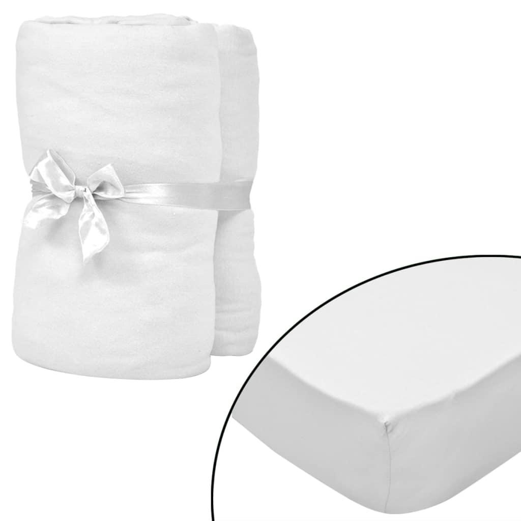 vidaXL Cearșafuri cu elastic pătuț 4 buc. alb, 40×80 cm jerseu bumbac