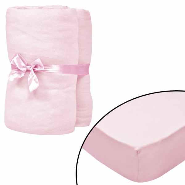 vidaXL Cearșafuri cu elastic pătuț 4 buc roz jerseu bumbac 40×80 cm