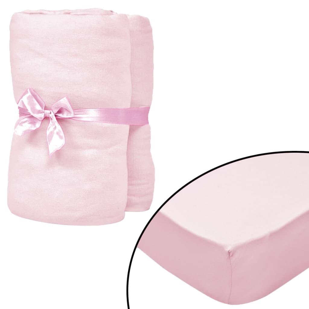 vidaXL Cearșafuri cu elastic pătuț 4 buc roz jerseu bumbac 60×120 cm