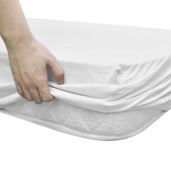 Cearșafuri cu elastic pătuț 4 buc alb jerseu bumbac 70×140 cm